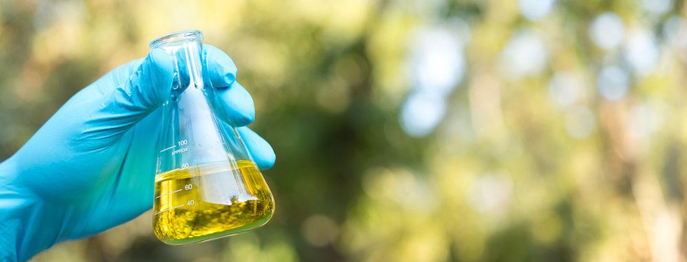 Mão com luva segura tubo de laboratório com ingrediente químico no meio ambiente